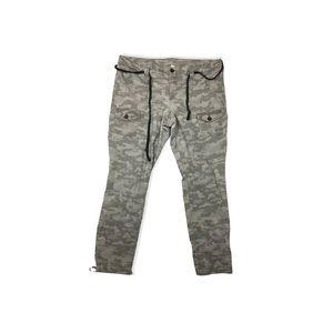 Khakis By Gap Camo Print Straight Leg Tie Waist Crop Pants Size 16